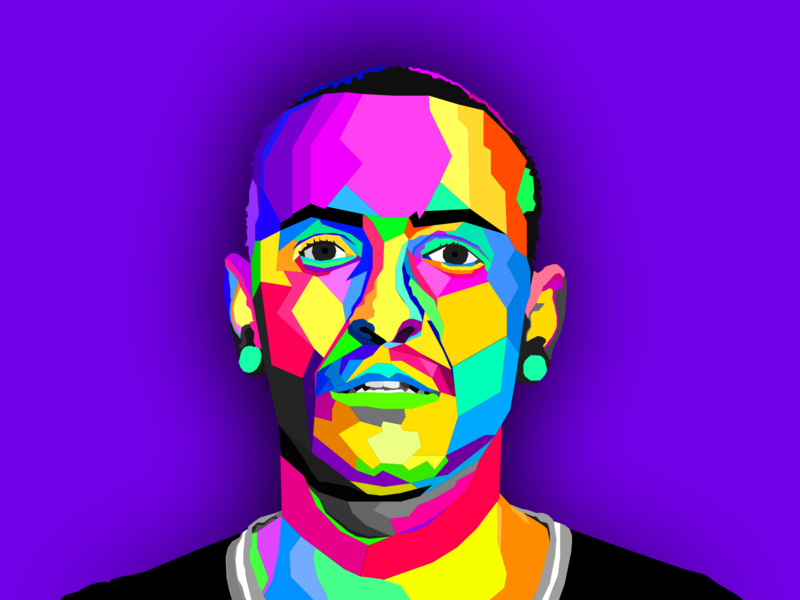 Chester Bennington draw geometry pattern character art direction illustrator sketch colors celebrity vector graphic illustration