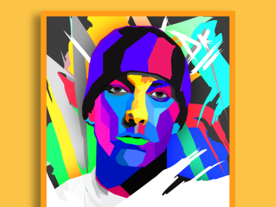 Portrait Art - Eminem drawing poster minimal interior yellow art direction art adobe 2d glitch pixel character digitalart vectorart painting abstract draw portait design illustration