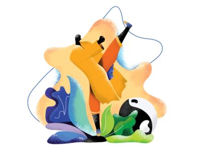 Shaolin Flat Illustration dribbble invite humans artwork fighting webillustration colour palette flat illustration vectorart illustrator hand drawn sketch characterdesign ninja plants procreate brush minimal flat design illustration flat