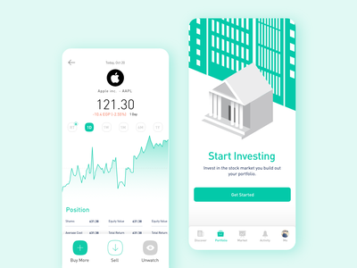 Thndr   Stock overview clean ui sell trade adobe detailed apple stocks adobexd app design illustration ui ux product design