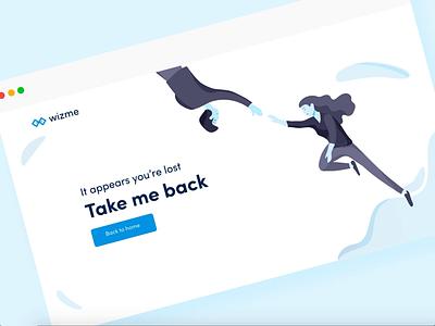 Wizme   404 logo adobexd vector animation interaction illustration design web design web website ui 404 error 404