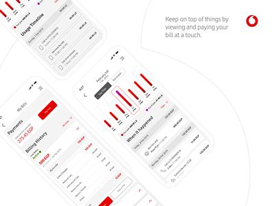 Vodafone   Manage your bills adobexd design ui app product design ux vodafone payment billing chart usage tracking bill