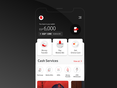 Vodafone Cash | Pay with a Click app product design uidesign ux money transfer services cash vodafone wallet