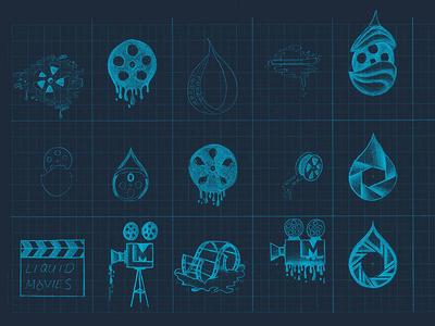 Liquid Movie Sketch branding sketch identity logo liquid film camera waterdrop logo evolution logo development