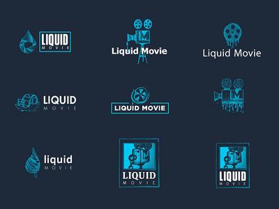 Liquid Movie Logo Tryouts logo branding camera liquid film sketch logo evolution logo development