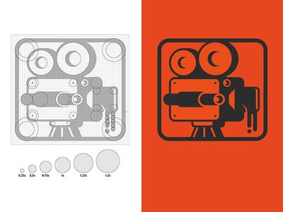 Liquid Movie Logo Grid logo branding camera liquid film identity grid logomark