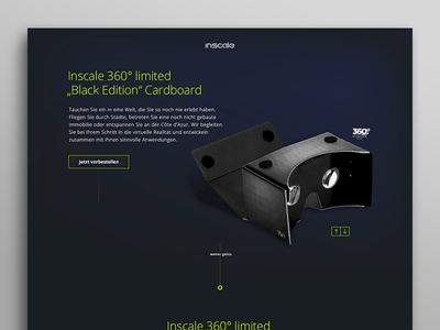 Cardboard Microsite virtual cardboard virtual reality ux webdesign website ui dark interface