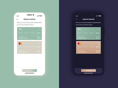 Payment Methods UI Design payment method simplicity gradiant design light dark app dark ui dark mode uidesign ios app minimal flat button design