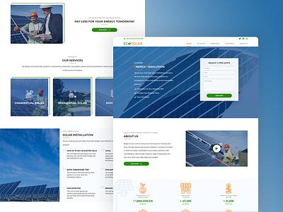 EcoSolar - landing page web design website website concept website design branding ui design gradiant simplicity minimal flat button design