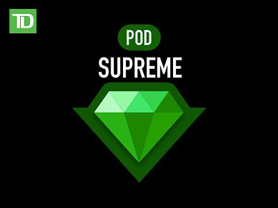 Pod Supreme - TD Bank typography icon design vector branding logo illustration