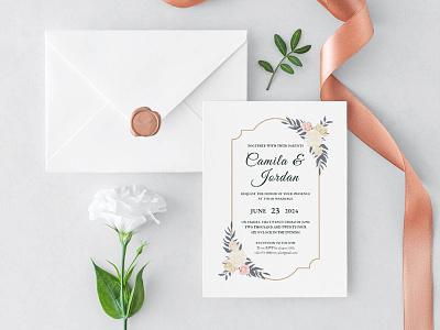 Free Floral Wedding Invitation Template wedding invitations wedding invitation wedding invite wedding card wedding design freebie freebies