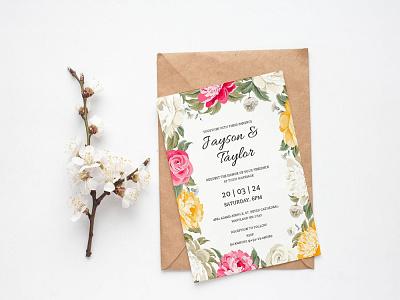 Free Flower Watercolor Wedding Invitation Template wedding invitation wedding design wedding invite wedding card wedding design freebie freebies