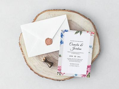 Free Colorful Flower Wedding Invitation Template design freebie freebies wedding invite wedding invitations wedding invitation wedding design wedding card wedding
