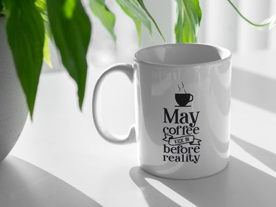 Free Coffee Cup And Plant Mockup