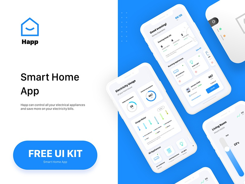 Free Smart Home App Ui Kit (Adobe XD) by Andy W on Dribbble