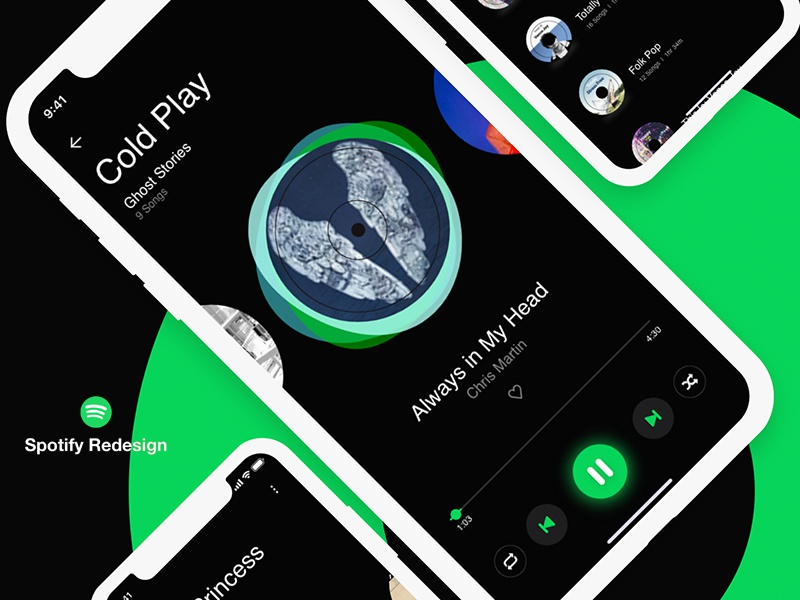 Free Spotify Redesign Concept mobile ui mobile app mobile app ui spotify ui interface design freebie freebies