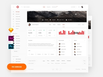 Free Video Stat Dashboard UI Template