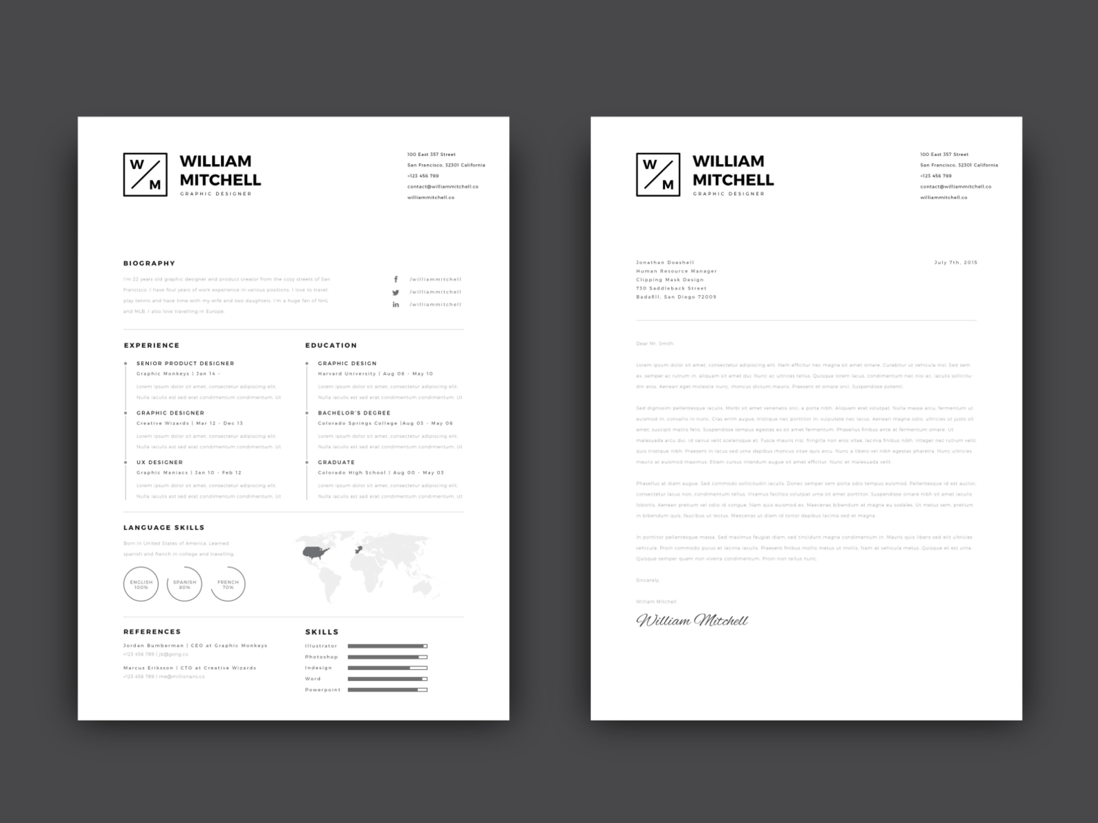 Free Simple CV/Resume Template with Cover Letter by Andy W ...