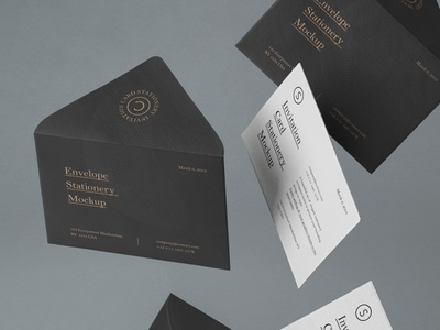 Free Gravity Invitation Set Mockup