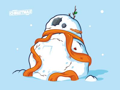 BB8 Snowman vector illustration the force awakens star wars droid xmas christmas snowman bb8