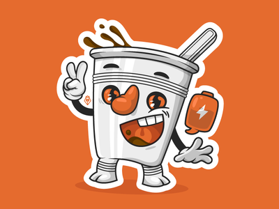 Coffee Break battery charge monday character illustration vector break coffee