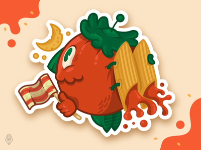 Astromato stickermule contest character illustration tomato