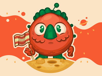 Astromato - Moon Landing stickermule contest character illustration tomato