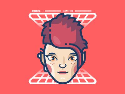 Art3mis illustrator movie nerd vr vector illustration readyplayerone