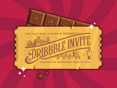 Dribbble Invite design graphic factory chocolate vector invite dribbble