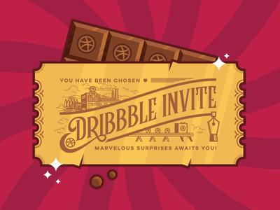 Dribbble Invite design graphic factory chocolate vector invite dribbble