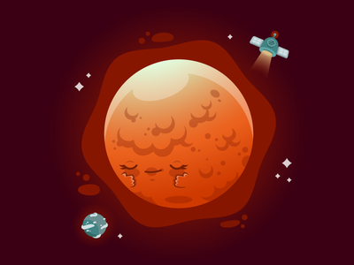 Shy Reddened Moon character design graphic space eclipse vector moon dribbble