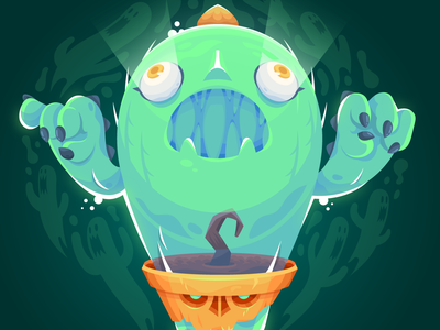 Ghostus plant horror vector character desing illustration ghost cactus