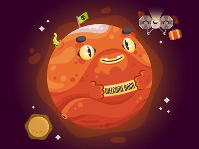 Attacks on Mars insight space nasa mars character illustrator illustration vector
