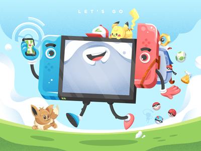 Let's Go! character design illustrator 90s nostalgia illustration vector eevee pikachu videogame switch nintendo pokèmon