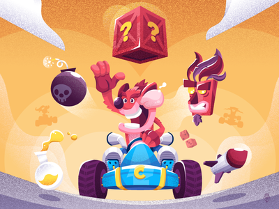 Crash Team Racing nostalgia character illustration vector playstation videogame crash