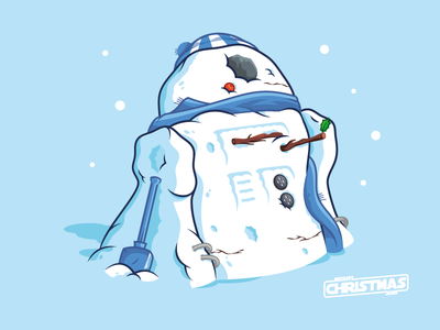 R2D2 Snowman star wars xmas vector illustration holidays droid christmas r2d2