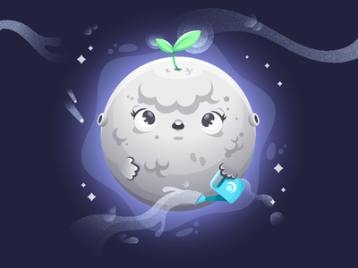 Green Moon illustrator character illustration vector green sprout nature space moon