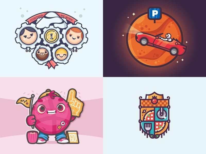 Top Shots From 2018 top shots 2018 dribbble illustrator flat character illustration vector