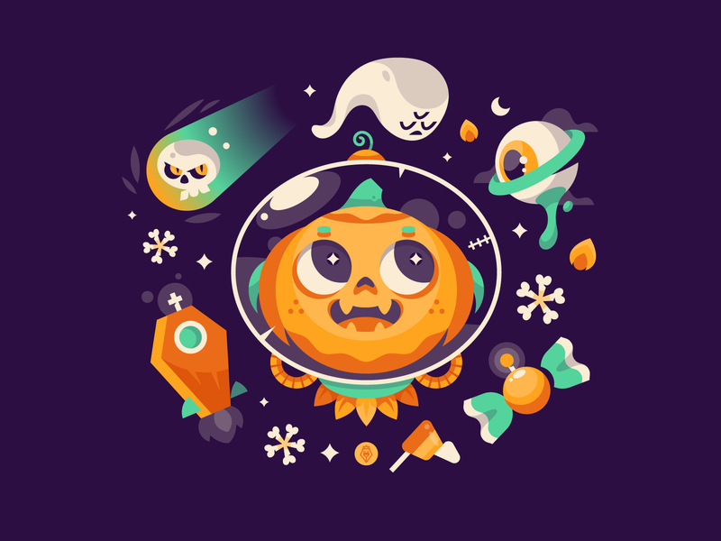 SpaceWeen digital art design art character illustration contest vector stickermule halloween