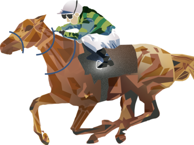Horse riding racing illustration