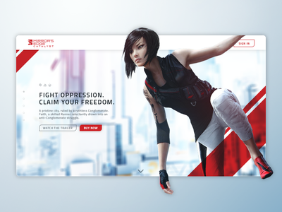 Mirror's Edge Catalyst - Landing Page ea mirrors edge gaming landing page website web challenge daily ui dailyui