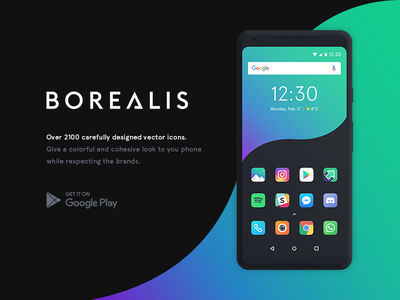 Borealis - Icon Pack play store icon pack mobile customization gradient colorful icons icon android google app borealis