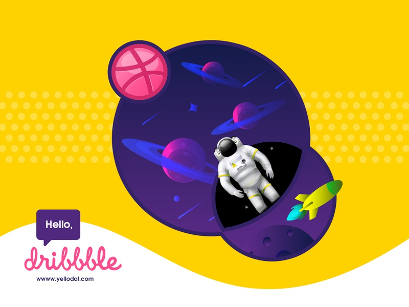 Hello Dribbblers! welcome page landing designer dribbble yellodot yellow dark space illustration design welcome debut shot debutshot design illustration