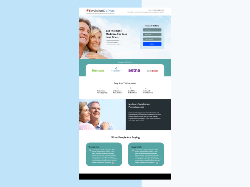 Medicare landing page ux uxui web adobe xd illustration