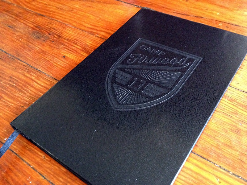 Firwood Notebook book product wood black embossed vector logo script crest