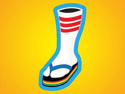 Socks With Sandals stripes sticker summer striped socks illustration clean vector rainbows sandals socks