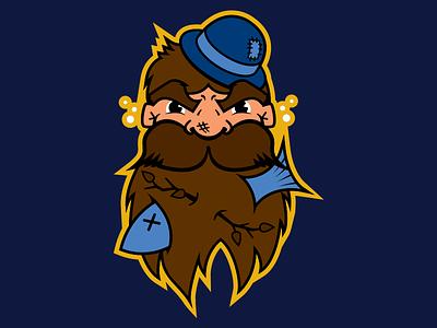 Bellingham Dirty Dan's illustration vector mascot bellingham blue brown peach gold navy fish beard hat drunk
