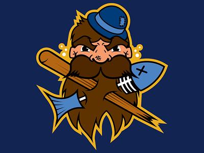Bellingham Dirty Dan's (Revised) blue vector illustration brown gold bellingham hat navy beard drunk fish mascot peach bat