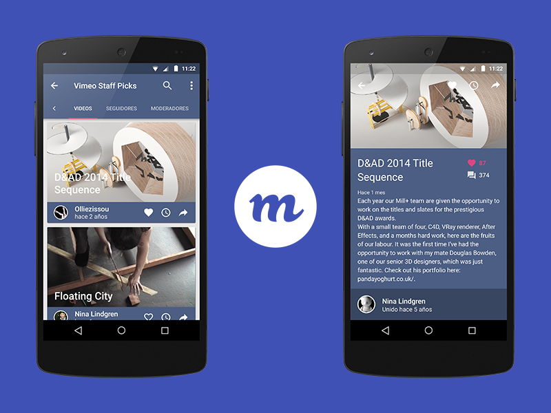 Miveo: Vimeo client for Android video vimeo ui android material design