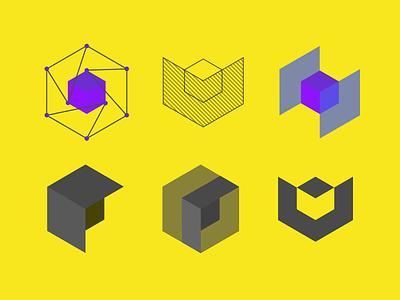 Tesseract Logo Explorations cubes hypercube sketch explorations cube tesseract logo
